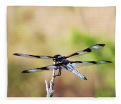 Rest Area, Dragonfly On A Branch Fleece Blanket