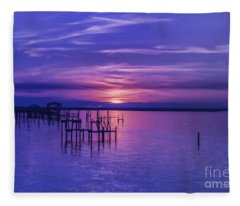 Rest Well World Purple Sunset Fleece Blanket