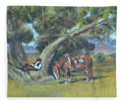 Resting Cowboy Painting A Study Fleece Blanket