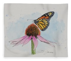 Resting Monarch Fleece Blanket