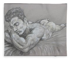 Resting Nude Fleece Blanket