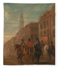 Restoration Procession Of Charles II At Cheapside Fleece Blanket