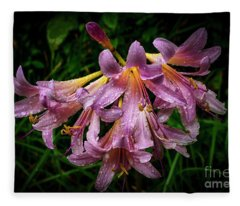 Resurrection Lily In The Rain Fleece Blanket