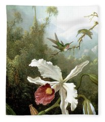 Retouched Masters - Orchid And Hummingbirds In Tropical Forest Fleece Blanket