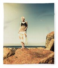 Retro Beach Fashions Fleece Blanket