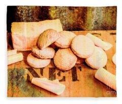 Retro Butter Shortbread Wall Artwork Fleece Blanket