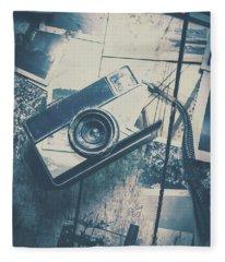 Retro Camera And Instant Photos Fleece Blanket