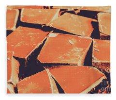 Retro Chocolate Squares Fleece Blanket
