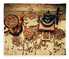 Retro Coffee Bean Mill Fleece Blanket
