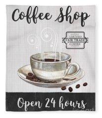 Retro Coffee Shop 1 Fleece Blanket