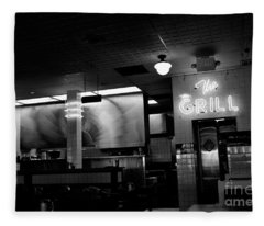 Retro Diner In Athens, Georgia -black And White Fleece Blanket
