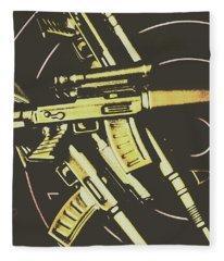 Retro Guns And Targets Fleece Blanket