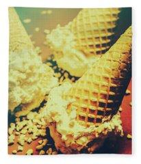 Retro Ice Cream Artwork Fleece Blanket