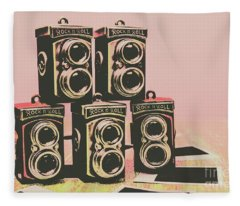 Retro Photo Camera Pop Art  Fleece Blanket