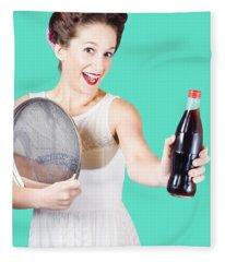 Retro Pin-up Girl Giving Bottle Of Soft Drink Fleece Blanket