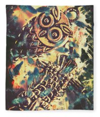 Retro Pop Art Owls Under Floating Feathers Fleece Blanket