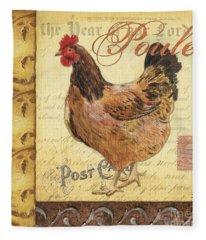 Retro Rooster 1 Fleece Blanket