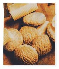 Retro Shortbread Biscuits In Old Kitchen Fleece Blanket
