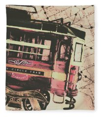 Retro Streets And Urban Trams Fleece Blanket