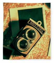 Retro Toy Camera On Photo Background Fleece Blanket