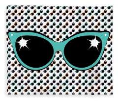 Retro Turquoise Cat Sunglasses Fleece Blanket