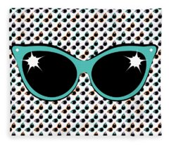 Retro Turquoise Cat Sunglasses Fleece Blanket