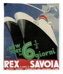 Rex, Conte Di Savoia - Italian Ocean Liners To New York - Vintage Travel Advertising Posters Fleece Blanket