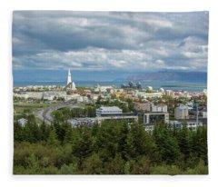 Reykjavick Cityscape, Iceland Fleece Blanket