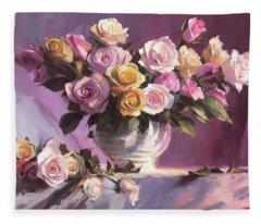 Rhapsody Of Roses Fleece Blanket