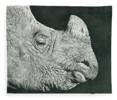 Rhino Pencil Drawing Fleece Blanket