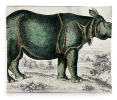Rhinoceros From A History Of The Earth And Animated Nature Fleece Blanket