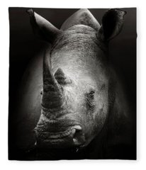 Rhinoceros Portrait Fleece Blanket