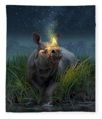 Rhinoceros Unicornis Fleece Blanket