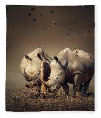 Rhino's With Birds Fleece Blanket