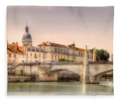 Bridge Over The Rhone River, France Fleece Blanket