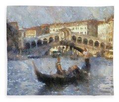 Rialto Bridge, Venice, Italy Fleece Blanket