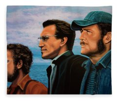 Jaws With Richard Dreyfuss, Roy Scheider And Robert Shaw Fleece Blanket
