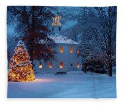 Richmond Vermont Round Church At Christmas Fleece Blanket