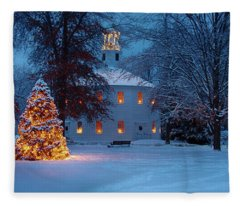 Richmond Vermont Round Church At Christmas Fleece Blanket