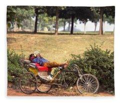 Rickshaw Rider Relaxing Fleece Blanket