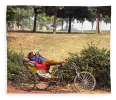 Rickshaw Rider Relaxing Fleece Blanket