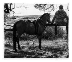 Rider And Horse Taking Break Fleece Blanket