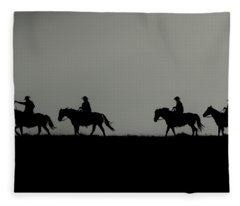 Riding The Range At Sunrise Fleece Blanket