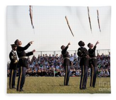 Rifle Toss By The Old Guard At The Twilight Tattoo  In Washington Dc Fleece Blanket