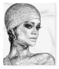 Fleece Blanket featuring the digital art Rihanna by Rafael Salazar