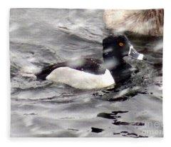 Ring Necked Duck In Snow Fleece Blanket