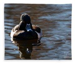 Ring-necked Duck On The Pond Fleece Blanket