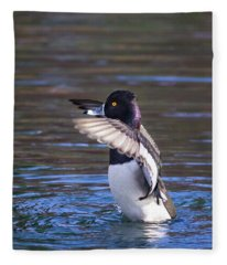 Ring-necked Duck Wings Up Fleece Blanket
