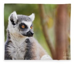 Ring-tailed Lemur Closeup Fleece Blanket