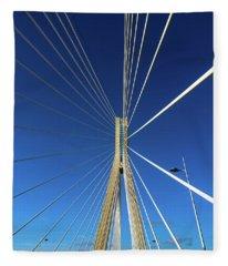 Rio Antirrio Officially Charilaos Trikoupis-bridge Crossing The Gulf Of Corinth Greece  Fleece Blanket